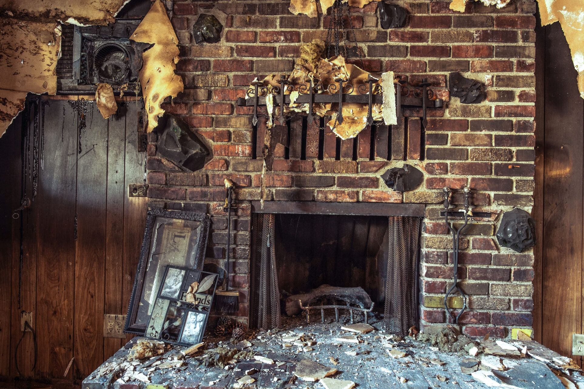 Fire and smoke damaged furniture in a single family home.